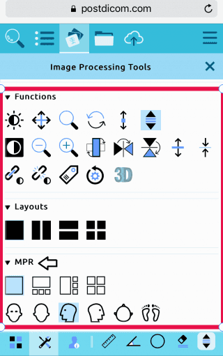 Mobile postDICOM viewer tools
